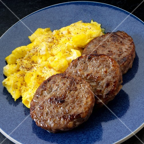 Pork sausage patties with scrambled eggs