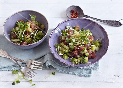 Ahi poke with cucumber, tuna and Daikon Cress