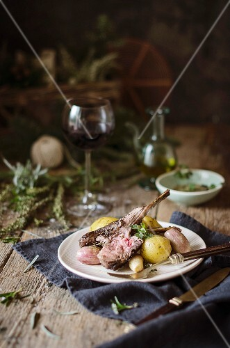 A roasted rack on lamb with baby roast potatoes