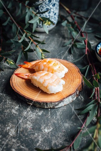 Nigiri sushi with prawns