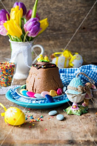 Pasha (a traditional Easter dessert made with quark or cottage cheese and raisins, Russia)