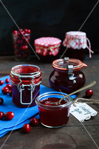 Cranberry jelly in jam jars