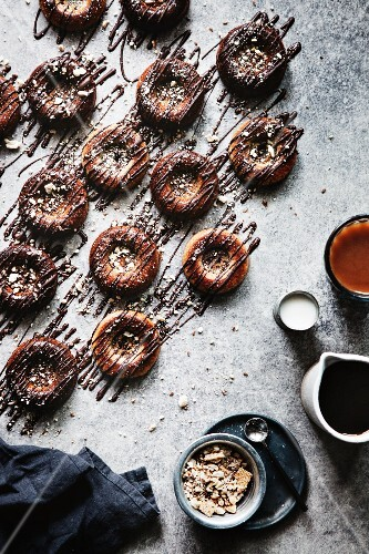 Paleo banana donuts with a chocolate glaze (top view)