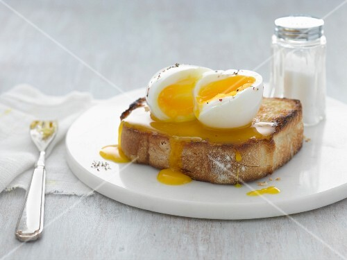 A soft-boiled egg on toast