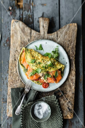 Herb omelette with fresh cheese and smoked salmon