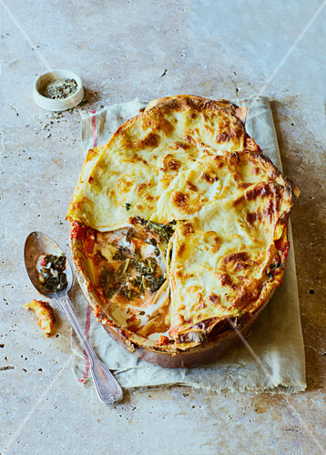 Kale and roasted leek lasagne with gruyere