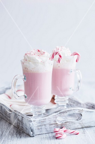 White hot chocolate with candy cane