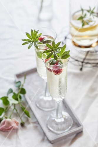 May wine with raspberries and fresh woodruff