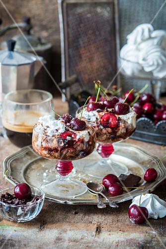 Chocolate meringue dessert with cherries