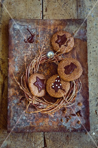 Gingerbread biscuits with chocolate