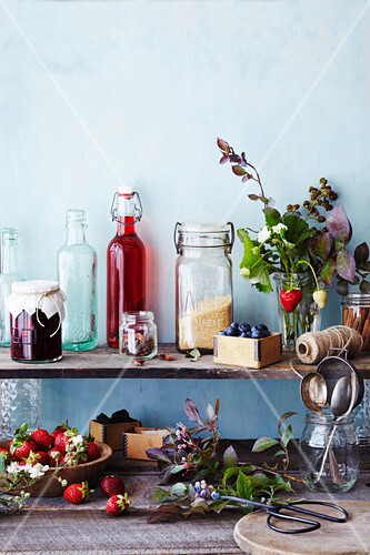 Kitchen shelf with Raspberry and Beetroot Jelly and Raspberry Vinegar