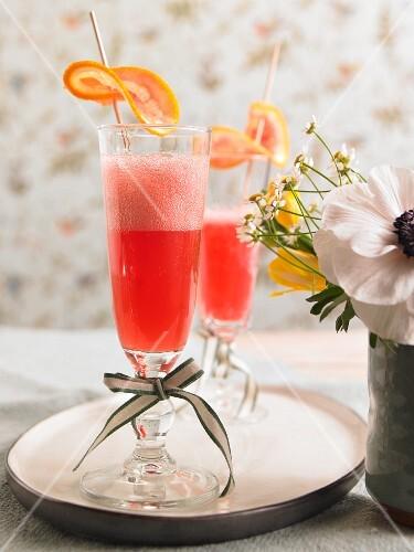 Blood orange mimosas as aperitifs for brunch
