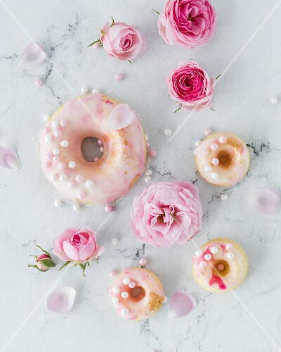Pink doughnuts and pink flowers