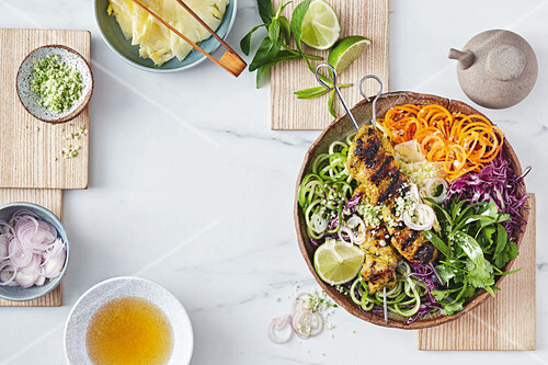 Turmeric and coconut chicken bowl