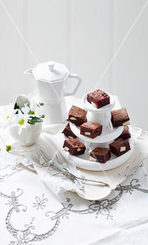 Double Chocolate Brownies mit Himbeeren