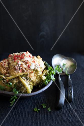 Oven-roasted cauliflower