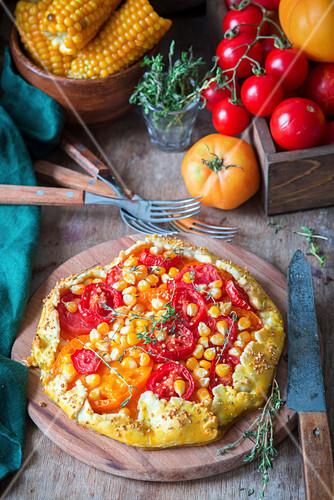 Tomaten-Käse-Pie mit Mais