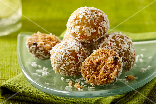 Vegan carrot balls with coconut flakes