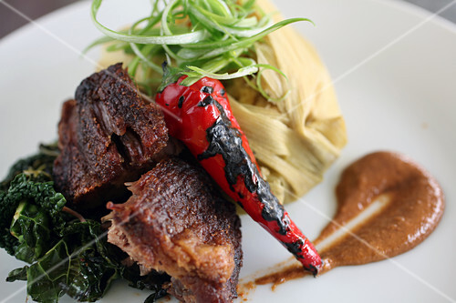 Adobo pork, tamale and roasted red chili pepper
