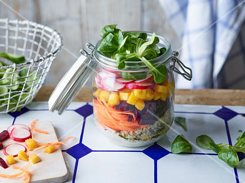 A rainbow salad in a jar to take away