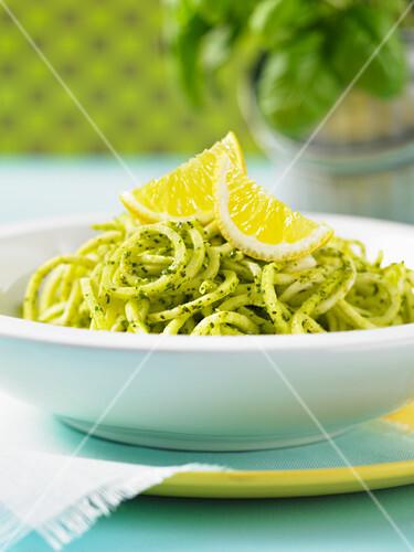 Parsnip spaghetti with pesto