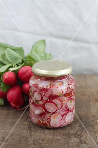 A jar of radish kimchi