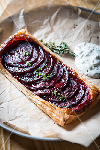 A beetroot tart on baking paper