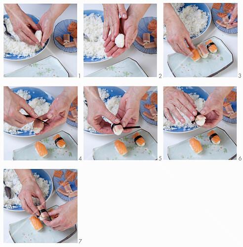 How to make nigiri sushi with smoked salmon and eel