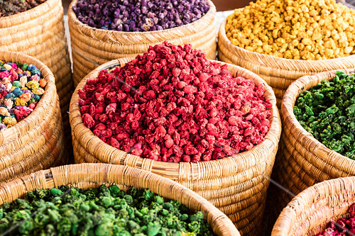 Potpourri at the spice market (souks, Rahba Kedima Square), Marrakesh, Morocco