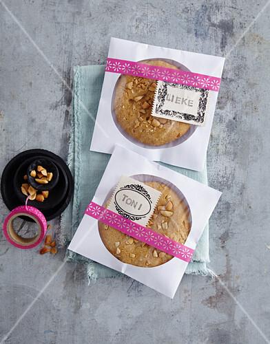 Cookies packaged in personalised CD envelopes as gifts