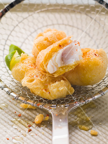 Baked cod in chickpea batter