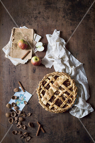 Rustic apple pie with walnuts (seen from above)