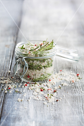 A jar of rosemary salt