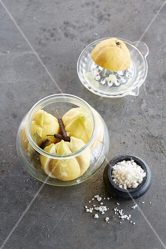 Salted lemons in a jar