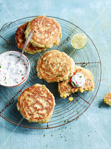 Corn fritters with a yoghurt dip