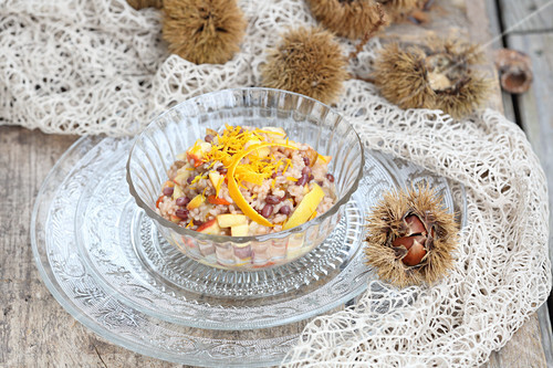 Rice pudding with chestnuts and adzuki beans (five-element cooking)