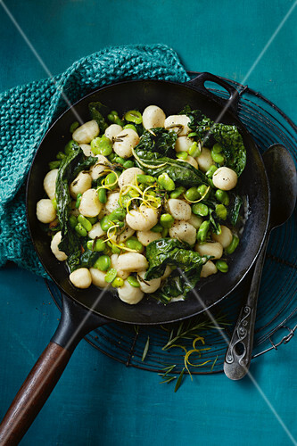 Gnocchi with burnt butter, braod beans and tuscan kale