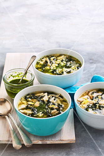 Lemon and Risoni Chicken Soup with Tuscan Cabbage