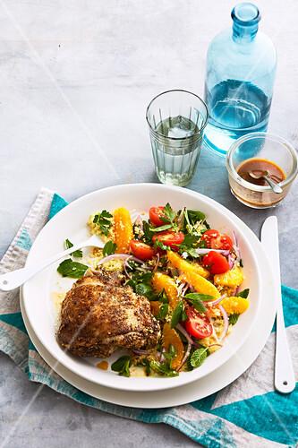 Za atar Chicken with Orange Couscous Tabouli