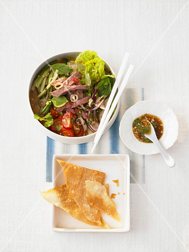 Romaine lettuce with marinated beef slices and fried Wantan leaves