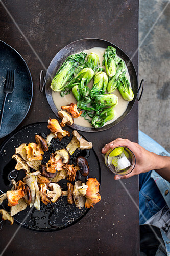 Grilled wild Asian mushrooms with coconut pak choi