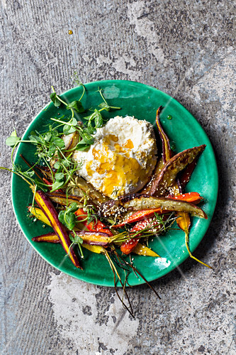 Charred sesame carrots and sweet potatoes with honey labneh