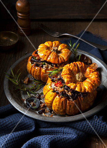 Two small pumpkins with a vegetarian filling