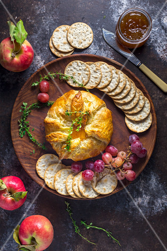 Baked Brie in Pastry with Fig Jam and Thyme