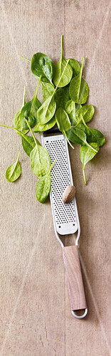 A nutmeg grater and fresh baby spinach