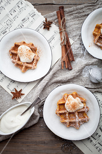 Carrot waffles with cream cheese and cinnamon