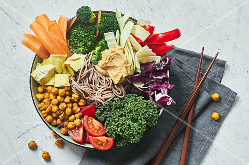 A Buddha bowl with soba noodles and crunchy chickpeas