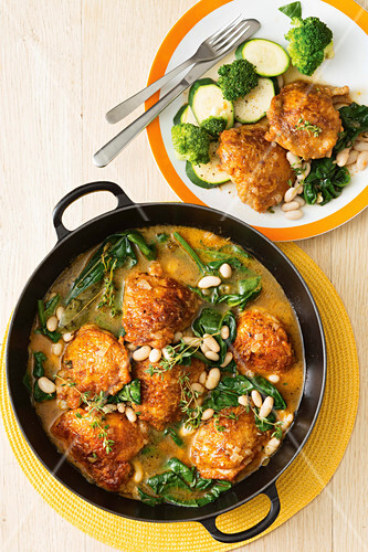 One-pan chicken with spinach and white beans