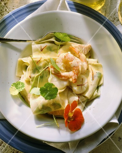 Pasta & cress with fish ragout (salmon, scampi, scallops)