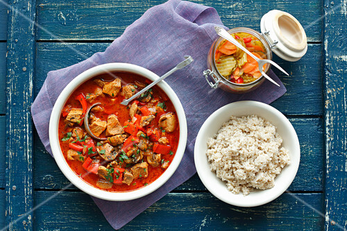 Pork goulash with pepper and mushrooms